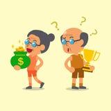 L'homme supérieur de sport de bande dessinée tenant le trophée et la femme supérieure tenant l'argent mettent en sac Images stock