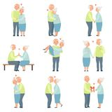 L'homme supérieur et la femme profitant d'un agréable moment ensemble réglés, les couples romantiques pluss âgé dans l'amour diri Illustration de Vecteur