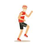 L'homme supérieur heureux de coureur faisant l'exercice pour rester les caractères colorés de mode de vie actif sain et sain diri illustration stock