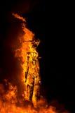L'homme sur des flammes à l'homme brûlant 2015 Images libres de droits