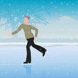 L'homme sur des patins Illustration de Vecteur