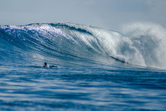L'homme sur une planche de surf barbote à une grande vague Images libres de droits