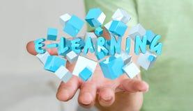 L'homme tenant 3D de flottement rendent la présentation d'apprentissage en ligne avec le cube Images libres de droits