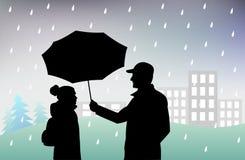 L'homme tient un parapluie au-dessus de la fille, la protégeant contre la pluie, mauvais temps pluvieux illustration stock