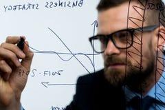 L'homme trace les diverses échelles de croissance, perspectives calculatrices pour le succe Photo stock