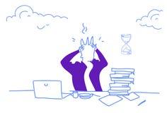 L'homme travaillant de concept d'effort de problème d'homme d'affaires confus tenant la date-butoir principale a fatigué le portr illustration libre de droits