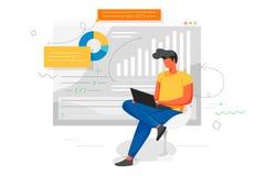L'homme travaille à un ordinateur portable et analyse l'infographics Gens d'affaires de concept de bureau illustration libre de droits