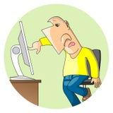 L'homme utilise l'écran tactile Image stock