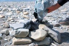 L'homme verse le charbon de bois dans le gril des pierres, casse des charbons avec la pierre, plan rapproché de mains photographie stock