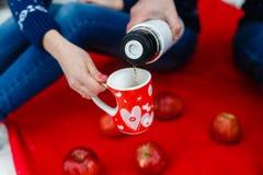 L'homme verse le thé dans une tasse avec une photo du coeur Les jeunes couples dans des chandails se reposent sur la couverture r Photo libre de droits