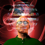 L'homme visualise la sphère visuelle entourant sa tête Photo stock