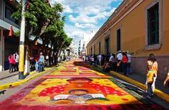L'Honduras Semana Santa, il Alfombra Avenida Cervantes Fotografia Stock Libera da Diritti