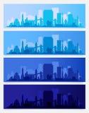 L'horizon à la mode de ville a coloré des ensembles dans l'heure différente du jour Illustration de vecteur photo libre de droits