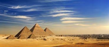 L'horizon de plateau de Giza Photos libres de droits