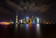 L'horizon de Pudong la nuit, Changhaï Images libres de droits