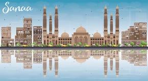 L'horizon de Sanaa (Yémen) avec des bâtiments de Brown, ciel bleu et se reflètent illustration de vecteur