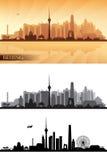 L'horizon de ville de Pékin a détaillé des silhouettes réglées illustration de vecteur