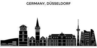 L'horizon de ville de vecteur d'architecture de l'Allemagne, Dusseldorf, paysage urbain de voyage avec des points de repère, bâti Image libre de droits