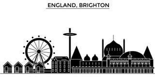 L'horizon de ville de vecteur d'architecture de l'Angleterre, Brighton, paysage urbain de voyage avec des points de repère, bâtim illustration libre de droits