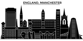 L'horizon de ville de vecteur d'architecture de l'Angleterre, Manchester, paysage urbain de voyage avec des points de repère, bât Images stock
