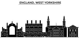 L'horizon de ville de vecteur d'architecture de l'Angleterre, West Yorkshire, paysage urbain de voyage avec des points de repère, Photo libre de droits