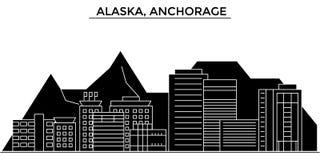 L'horizon de ville de vecteur d'architecture des Etats-Unis, Alaska, Anchorage, paysage urbain de voyage avec des points de repèr Photographie stock libre de droits