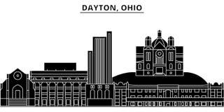 L'horizon de ville de vecteur d'architecture des Etats-Unis, Dayton, Ohio, paysage urbain de voyage avec des points de repère, bâ Image libre de droits