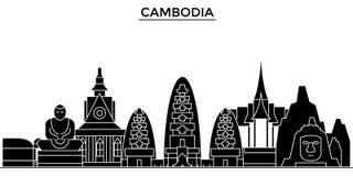 L'horizon de ville de vecteur d'architecture du Cambodge, paysage urbain de voyage avec des points de repère, bâtiments, a isolé  Image stock