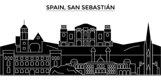 L'horizon de ville de vecteur d'architecture de l'Espagne, San Sebastian, paysage urbain de voyage avec des points de repère, bât Photos libres de droits