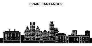 L'horizon de ville de vecteur d'architecture de l'Espagne, Santander, paysage urbain de voyage avec des points de repère, bâtimen Image libre de droits