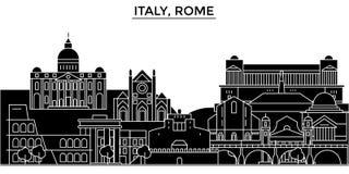 L'horizon de ville de vecteur d'architecture de l'Italie, Rome, paysage urbain de voyage avec des points de repère, bâtiments, a  illustration stock