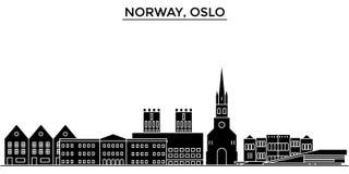 L'horizon de ville de vecteur d'architecture de la Norvège, Oslo, paysage urbain de voyage avec des points de repère, bâtiments,  Image stock