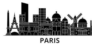 L'horizon de ville de vecteur d'architecture de Paris, paysage urbain de voyage avec des points de repère, bâtiments, a isolé des illustration stock