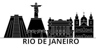 L'horizon de ville de vecteur d'architecture de Rio De Janeiro, paysage urbain de voyage avec des points de repère, bâtiments, a  illustration libre de droits