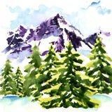 L'horizontal de l'hiver avec la neige a couvert des arbres illustration libre de droits