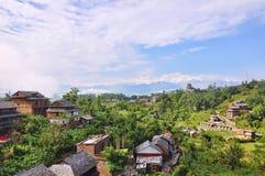 L'horizontal rural du Népal du plantoir photo stock