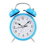 l'horloge bleue d'alarme a isolé Photo stock