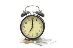 l'horloge d'alarme invente le dessus de papier d'argent Photo stock