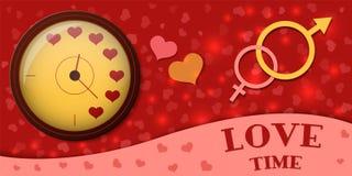 L'horloge montre l'heure d'aimer Symbole de l'homme et de femme Illustration de vecteur illustration stock