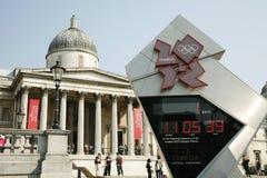L'horloge olympique de compte à rebours de Londres affiche qu'un jour disparaissait Image libre de droits