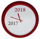 L'horloge rouge avec le changement 2017-2018 représente la prochaine nouvelle année 2018 Images libres de droits