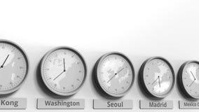 L'horloge temps montre Séoul, Corée du Sud parmi différents fuseaux horaires Animation 3D conceptuelle clips vidéos