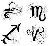 L'horoscope de lettre ou le symbole de zodiaque sont Sagittaire de Scorpion de Balance Photos stock