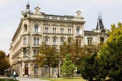 L'hotel del palazzo nella città di Zagabria fotografia stock libera da diritti