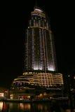 L'hotel di indirizzo, Doubai alla notte Immagini Stock Libere da Diritti