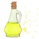 L'huile d'olive, bouteille d'huile de tournesol avec du liège et éclabousse Photos libres de droits