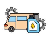 L'huile de gallon de véhicule de camion embraye le service des véhicules à moteur illustration libre de droits