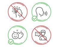 L'humain chantent, ensemble d'icônes sourient et d'idées Signe d'entretien de personne Entretien, milieu social comme, concepteur illustration de vecteur