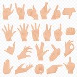 L'humain réaliste remet les icônes et l'ensemble de symboles Icônes de main d'Emoji Différents gestes, mains, signaux et émotions Photos stock