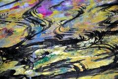 L'hypnotique brouillé éclabousse, des couleurs cireuses vives colorées, fond créatif de contrastes photos libres de droits